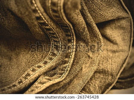 blue jeans double seams, close up. instagram image retro style - stock photo