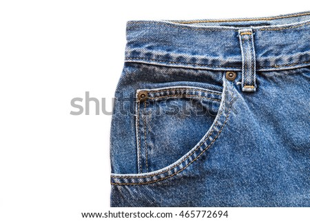Blue jeans fabric with front pocket on white isolated background. copy space for text
