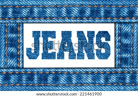 Blue jeans frame. Jeans sign. White background.