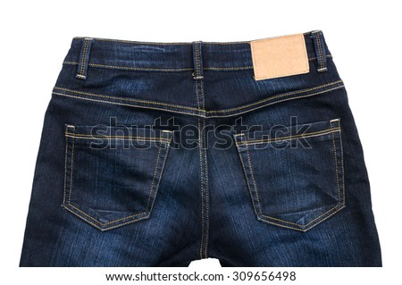 Blue jeans isolated on white background. Fashion concept with trousers. - stock photo