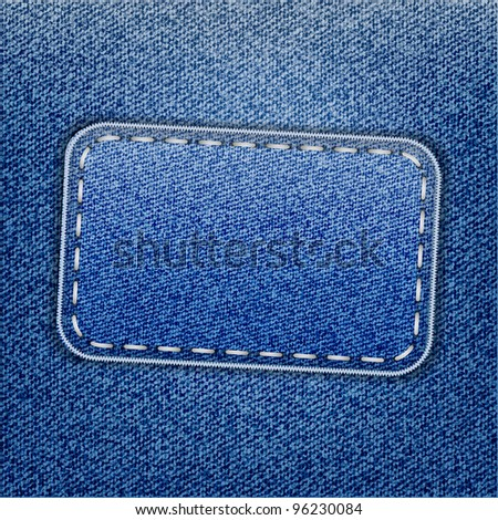 Blue jeans label on jeans texture, jpeg version