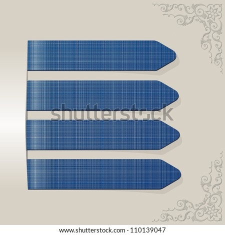 blue jeans labels on gray frame with orient pattern decorated