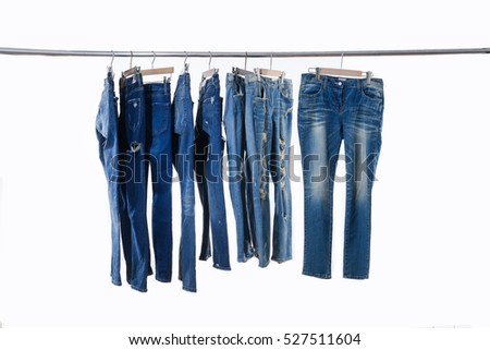 Blue jeans on hanger