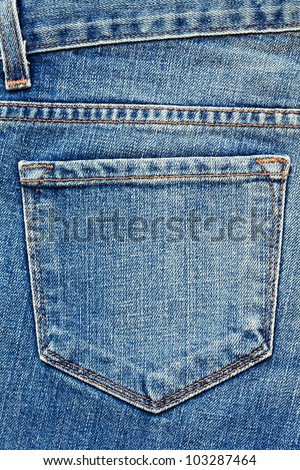 Blue jeans pocket. - stock photo
