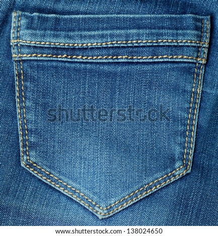 Blue jeans pocket - stock photo