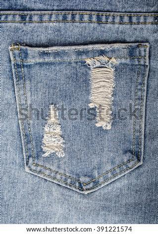 Blue jeans pocket. close up background - stock photo