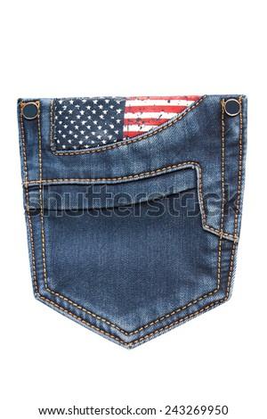 blue jeans pocket on white background  - stock photo