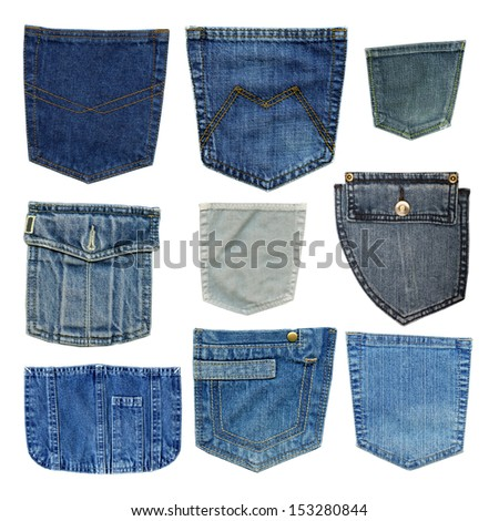 blue jeans pockets isolated on white background, set - stock photo
