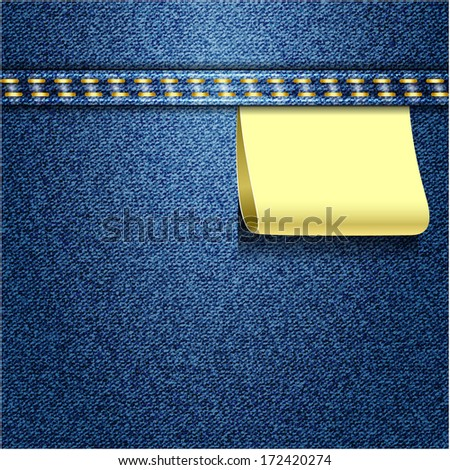 Blue jeans realistic denim texture with label - stock photo