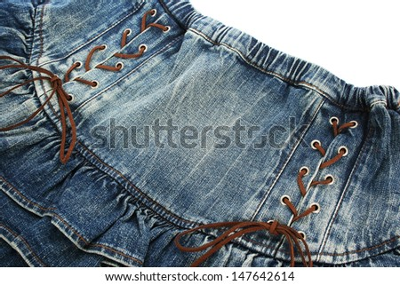 Blue jeans skirt isolated on white background. - stock photo