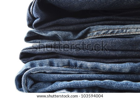 Blue Jeans Stacked - stock photo