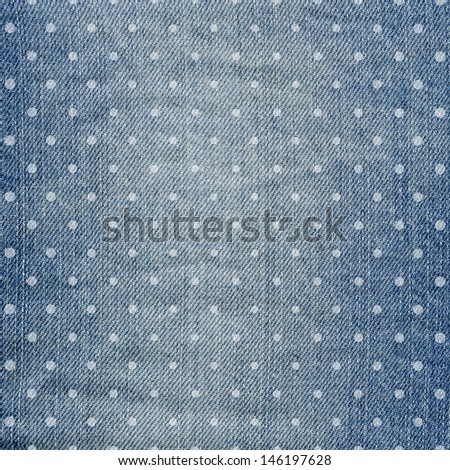 Blue jeans texture. Abstract jean background with polka dots - stock photo