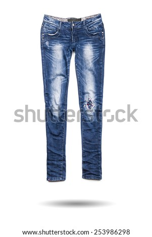 Blue jeans trouser isolated on the white background - stock photo