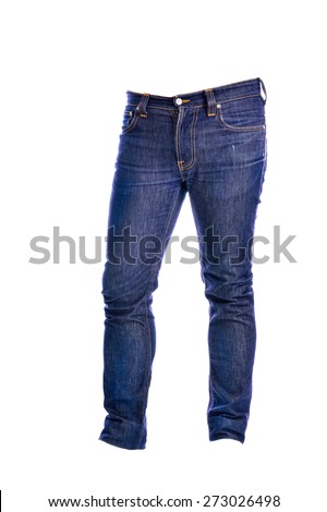 Blue Jeans trousers on white background
