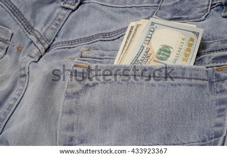 BLUE JEANS WITH US BANK NOTES IN BACK POCKET (FOR BACKGROUND)