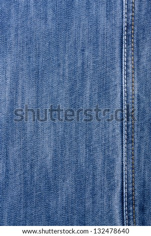 Blue jeans with yellow and white stitching - stock photo