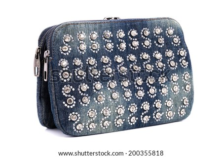 Blue jeans women bag decorated with diamond isolated at white background - stock photo