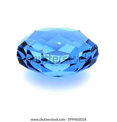 blue jewel - 3D illustration - stock photo
