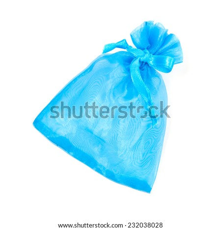 blue jewelry bag isolated on white background