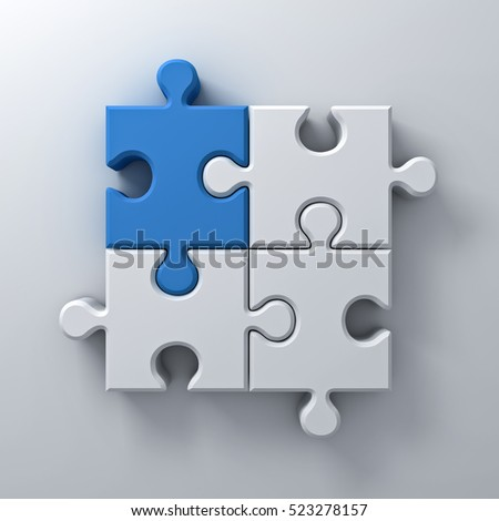 Blue jigsaw puzzle piece stand out from the crowd different concept on white wall background with shadow. 3D rendering.