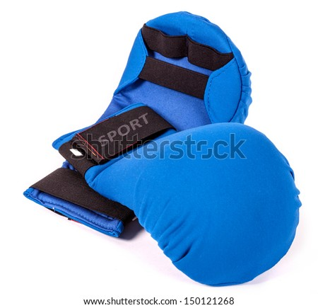 Blue karate gloves on white background with black slip - stock photo
