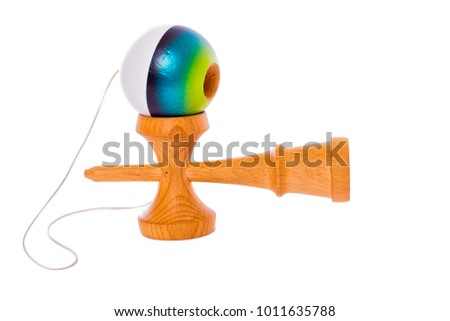 Blue Kendama on white Background