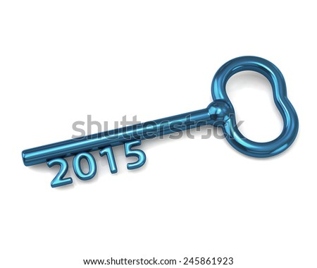 Blue key with number 2015