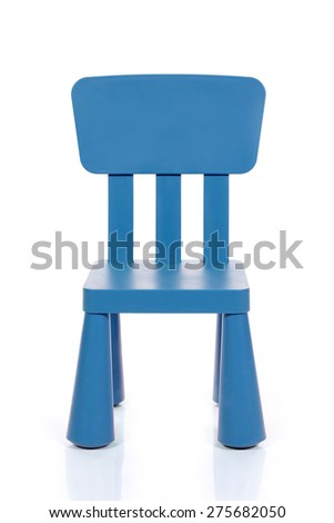 blue kids plastic chair isolated on white background