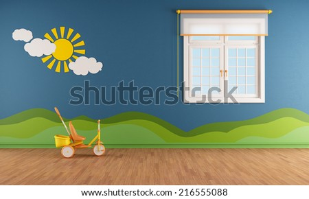 Blue kids room with window and decoration on wall - rendering - stock photo