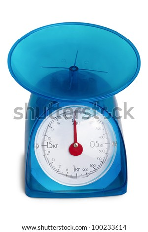 blue kitchen scale to red arrow isolated