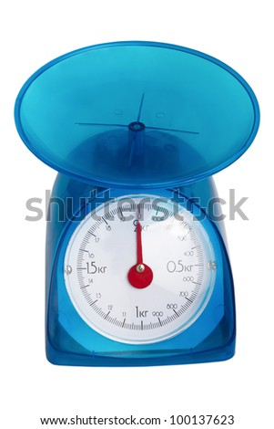 blue kitchen scale to red arrow isolated (clipping path)