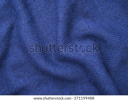 Blue Knitted Fabric Texture, Background - stock photo