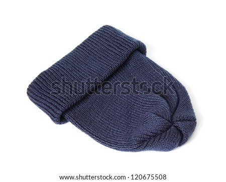 Blue knitted hat isolated on white background.