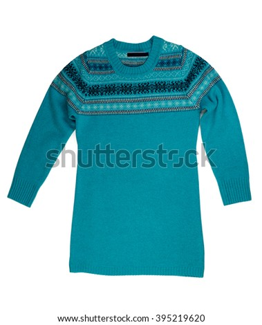 Blue knitted sweater. Isolate on white. - stock photo