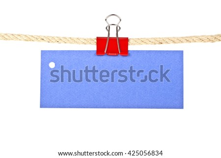 Blue label on a rope isolated on white background, closeup - stock photo