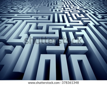 blue labyrinth 3d render illustration represent complex problem solving concept