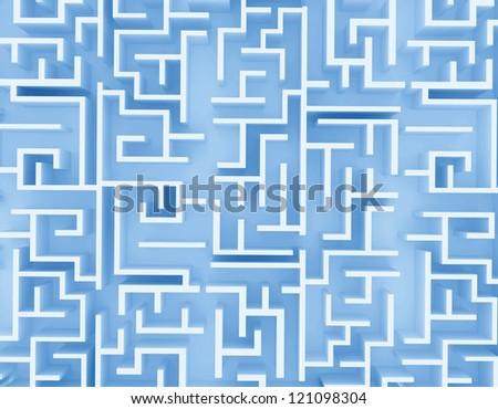 blue labyrinth on white background - stock photo