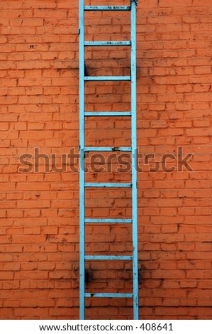blue ladder on brick wall