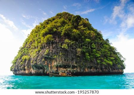 Blue lagoon at Phi Phi island - stock photo