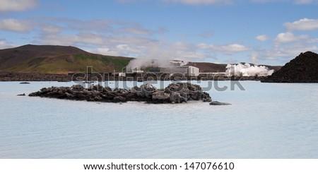 Blue Lagoon (Blaa Lonid) and the geothermal power plant of Svartsengi in Reykjanes, Iceland. - stock photo