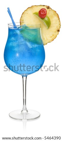 Blue Lagoon Cocktail - isolated on white