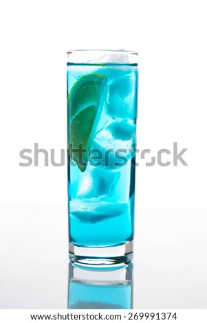 Blue Lagoon cocktail isolated on white background