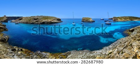 Blue lagoon in Malta on the island of Comino - stock photo