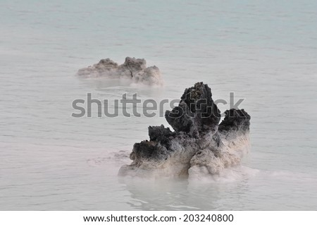 Blue lagoon in southwest Iceland.  - stock photo