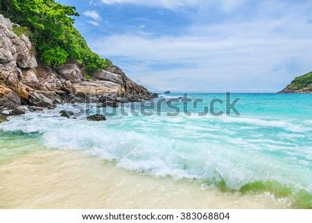 Blue Lagoon on the island of Ko Racha. Thai Phuket Province - stock photo