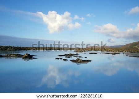 Blue Lagoon, the geothermal bath resort in Iceland near Reykjavik, Iceland - stock photo