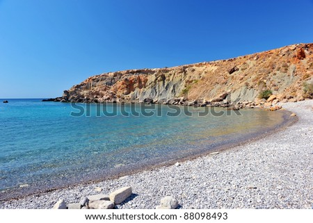 Blue lagoon with white sand in Crete, Greece - stock photo