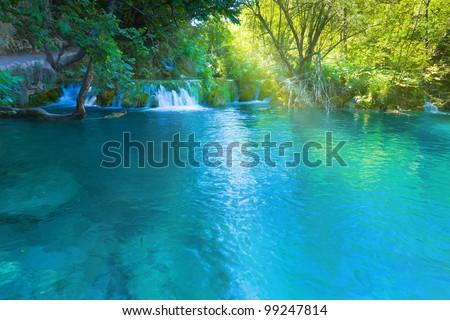 Blue lake - stock photo