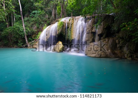 Blue Lake and Deep forest waterfall (Erawan Waterfall) in Thailand