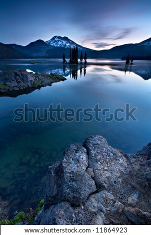 Blue Lake Morning - stock photo